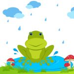 illustration of frog sitting in rainy day on natural background